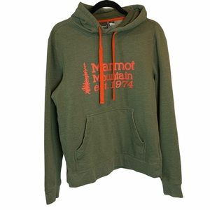 Marmot green and red hoodie S like new
